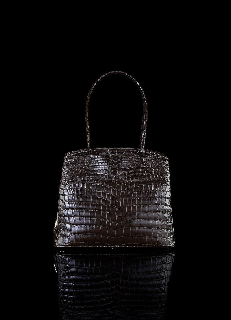 Front view of Brown Niloticus Crocodile Crawford Tote - Darby Scott