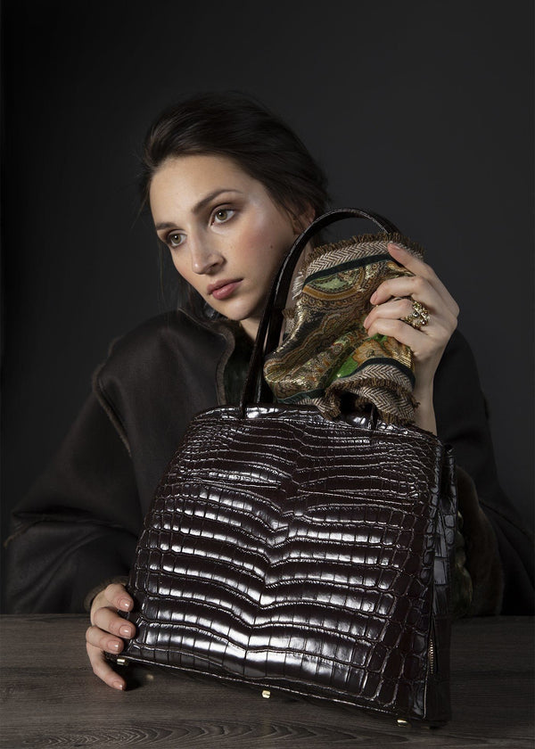 Model with Brown Niloticus Crocodile Crawford Tote - Darby Scott
