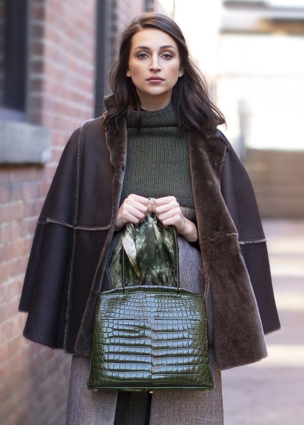 Model with Dark Green Niloticus Crocodile Crawford Tote - Darby Scott