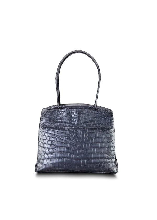 Front view of Grey Niloticus Crocodile Crawford Tote - Darby Scott--alternate