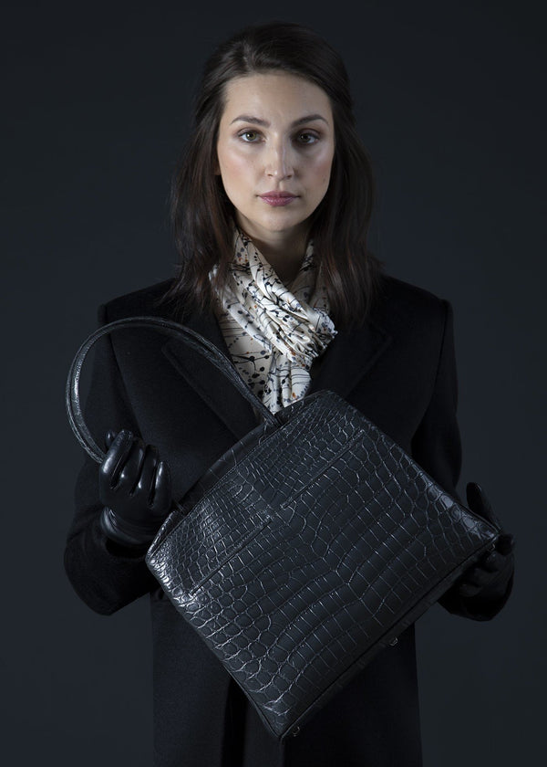 Model with Grey Niloticus Crocodile Crawford Tote - Darby Scott