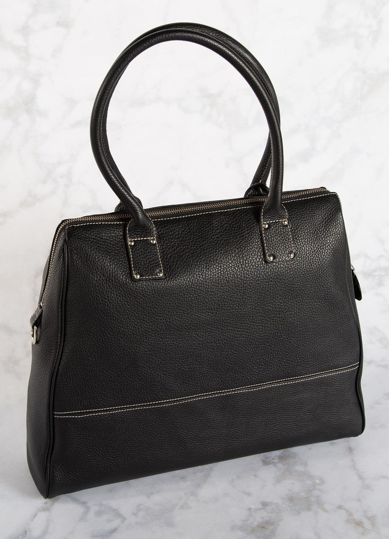 Black Leather Boston Tote back  view - Darby Scott