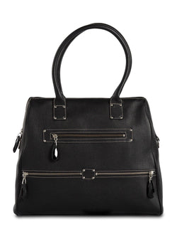Black Leather Boston Tote with Gemstone zipper pulls - Darby Scott