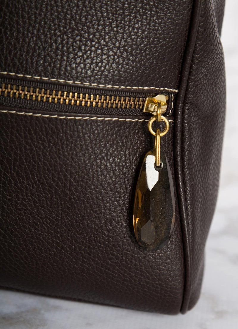 Brown Boston Tote close up view of smokey topaz zipper pull - Darby Scott