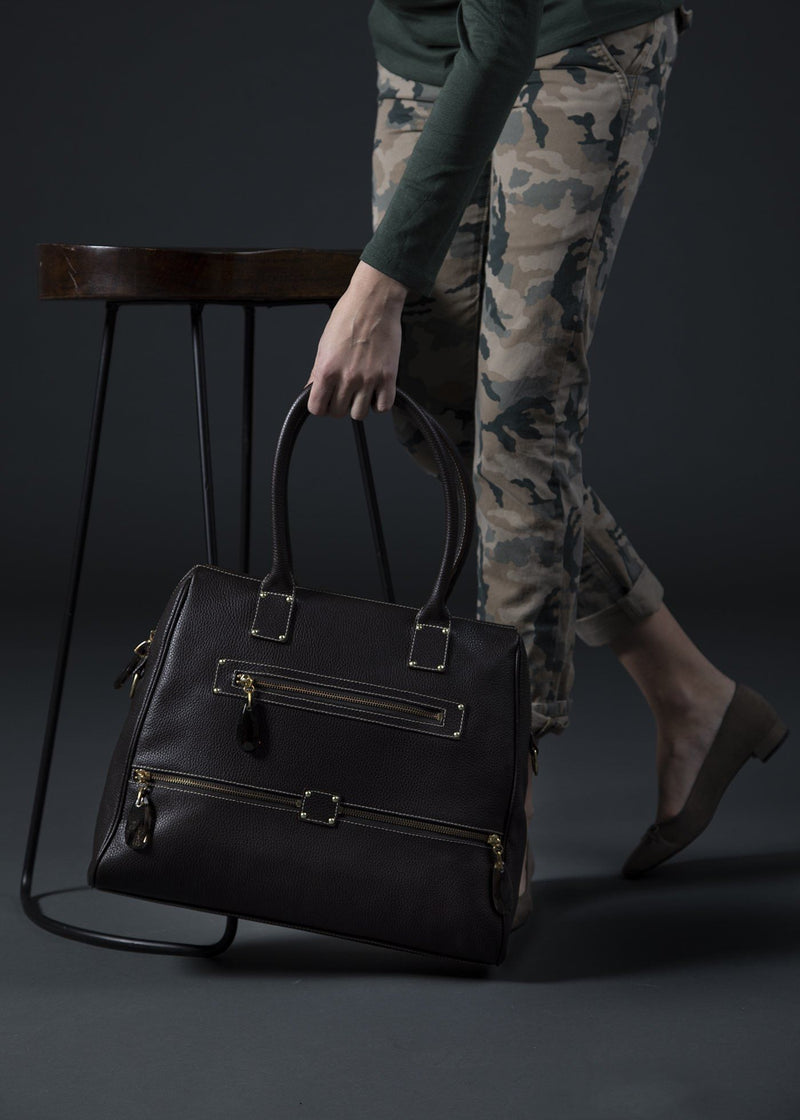 Brown Leather Boston Tote held by model- Darby Scott