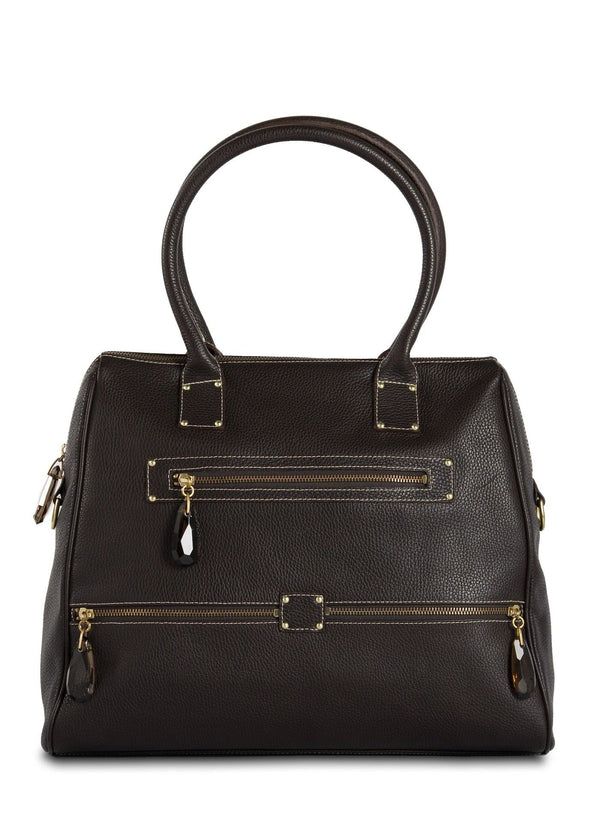 Brown Leather Boston Tote with Smokey Topaz zipper pulls- Darby Scott