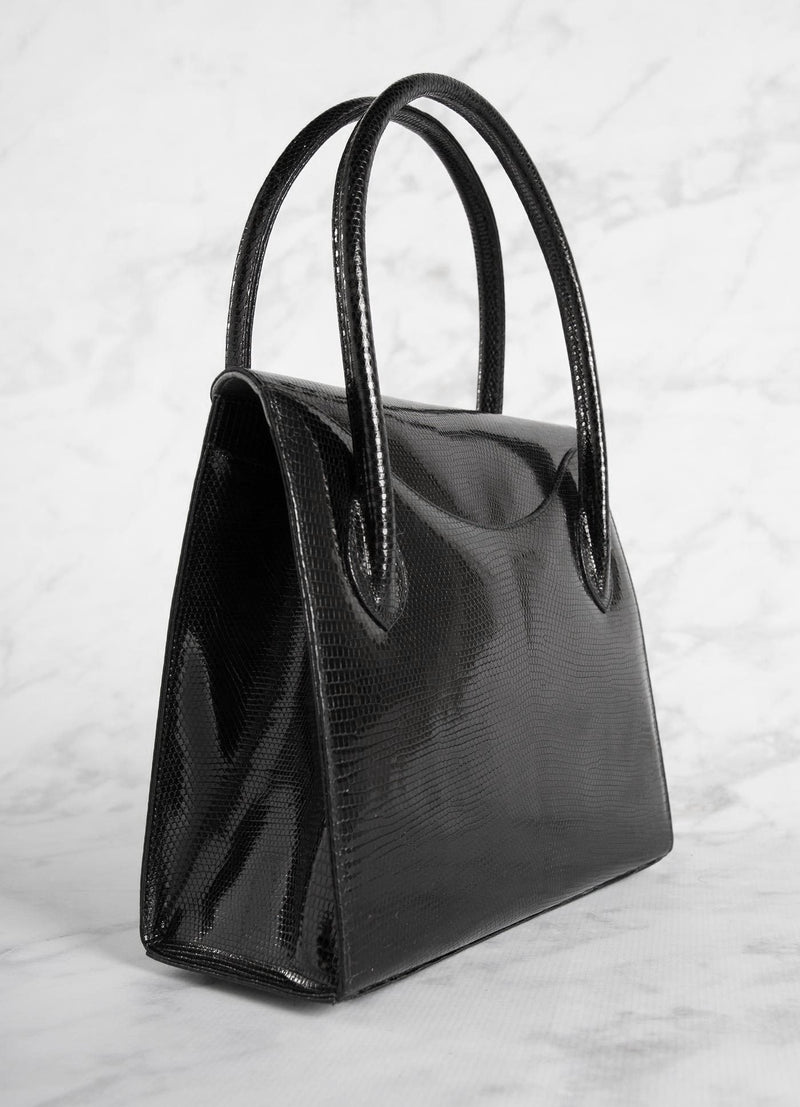 "Back of Thompson ""O"" Tote in Black Lizard - Darby Scott"