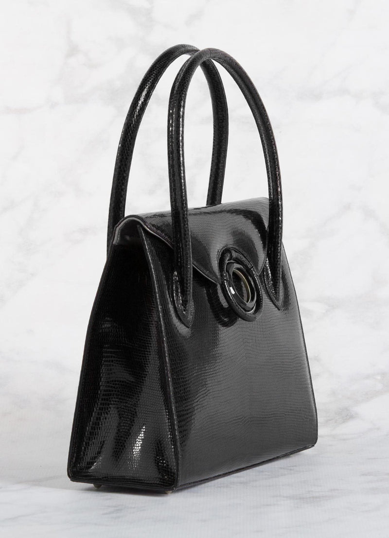 "Side of a black lizard Thompson ""O"" Tote - Darby Scott"