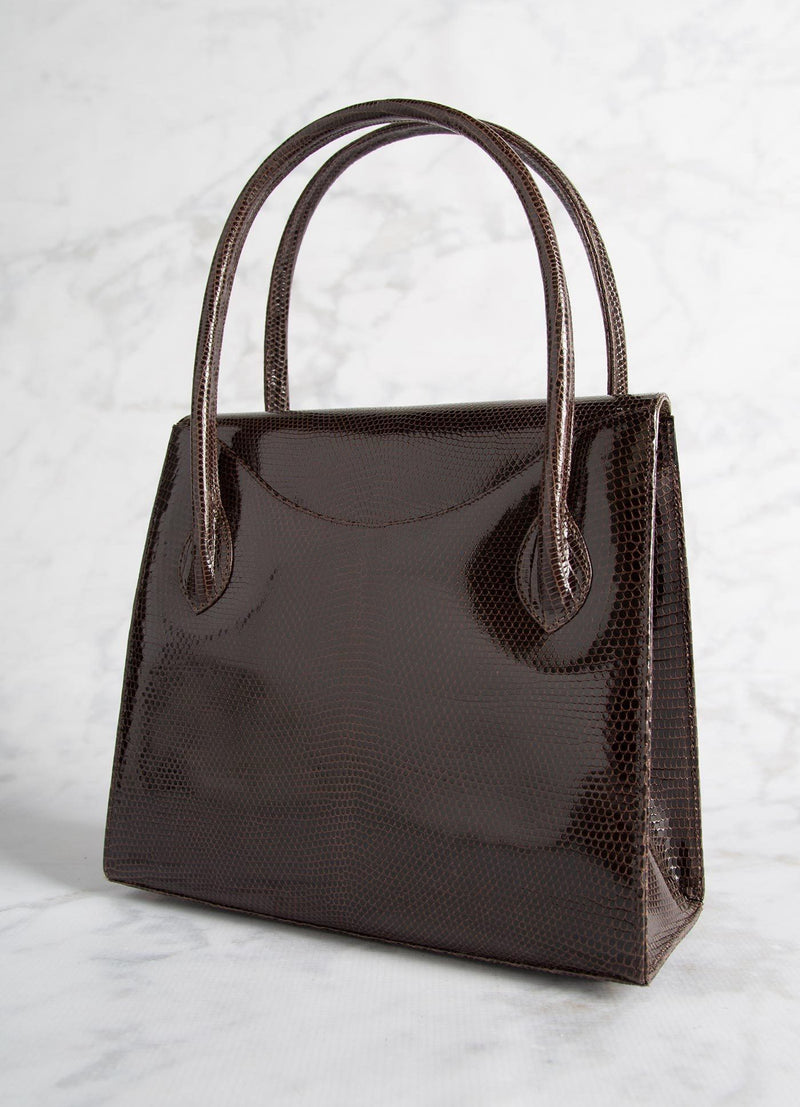 "Back of Thompson ""O"" Tote in Brown Lizard - Darby Scott"