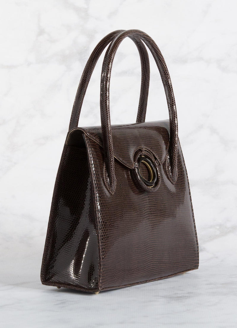 "Side of Brown Lizard Thompson ""O"" Tote - Darby Scott"