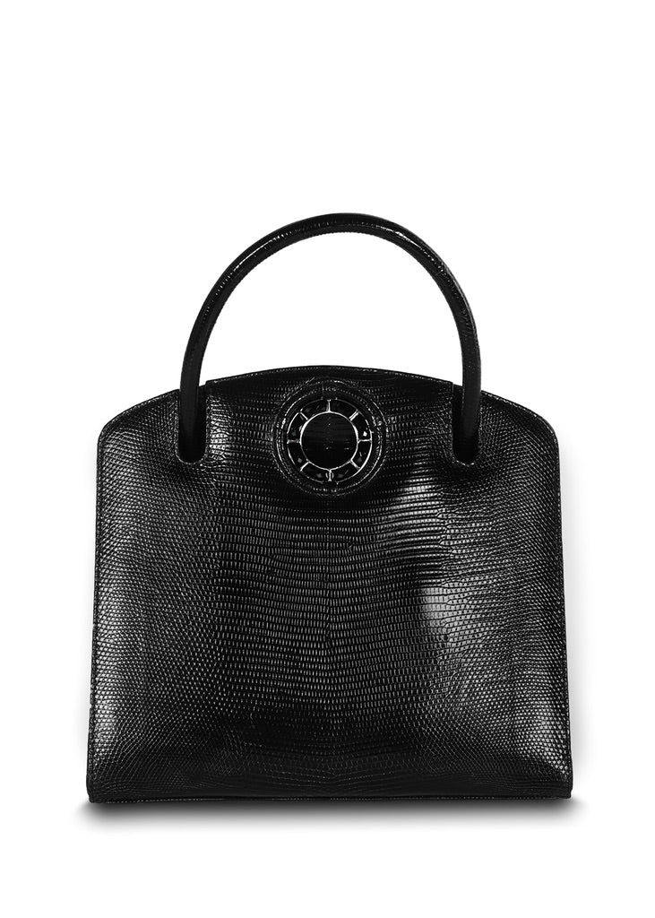 Exotic lizard Annette top handle tote in black with onyx grommet - Darby Scott