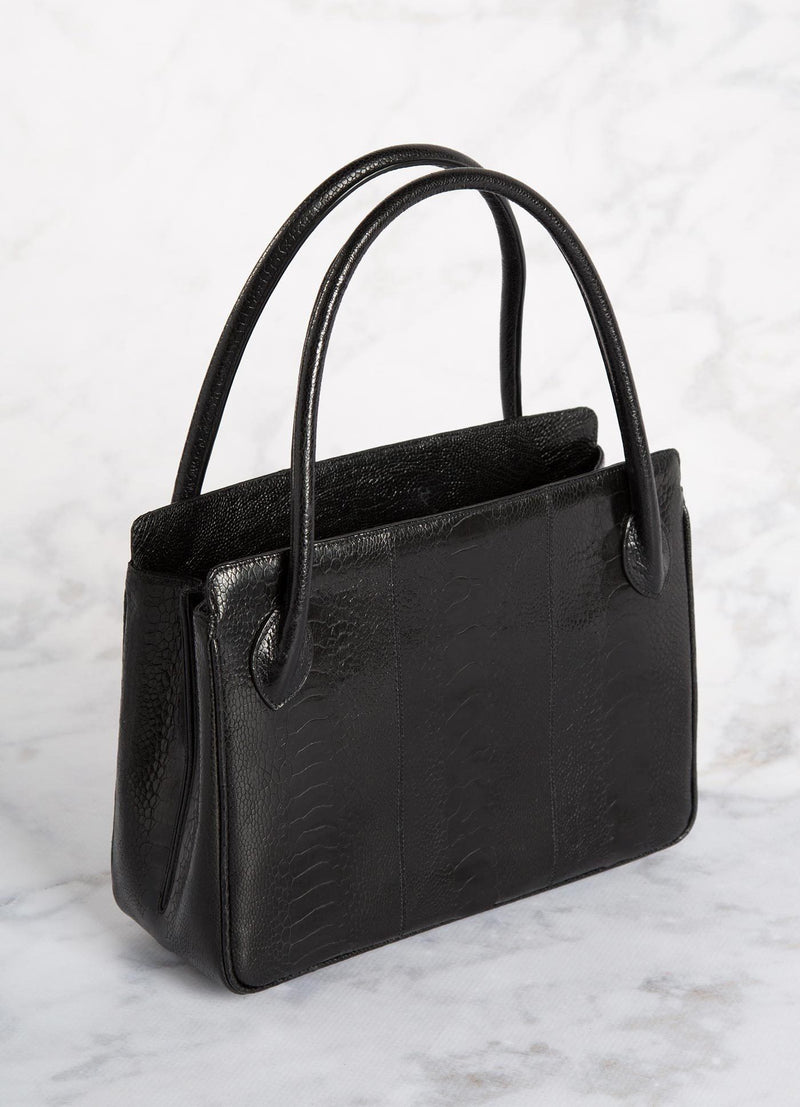 Black Ostrich Leg Blair Open Tote with Silver Accents back view - Darby Scott