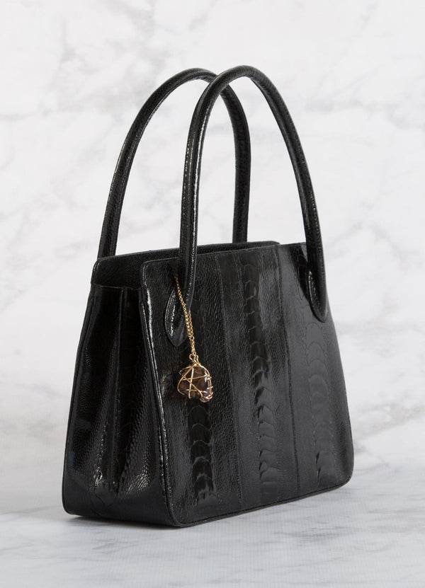 Black Ostrich Leg Blair Open Tote with Gold Accents side view - Darby Scott--alternate