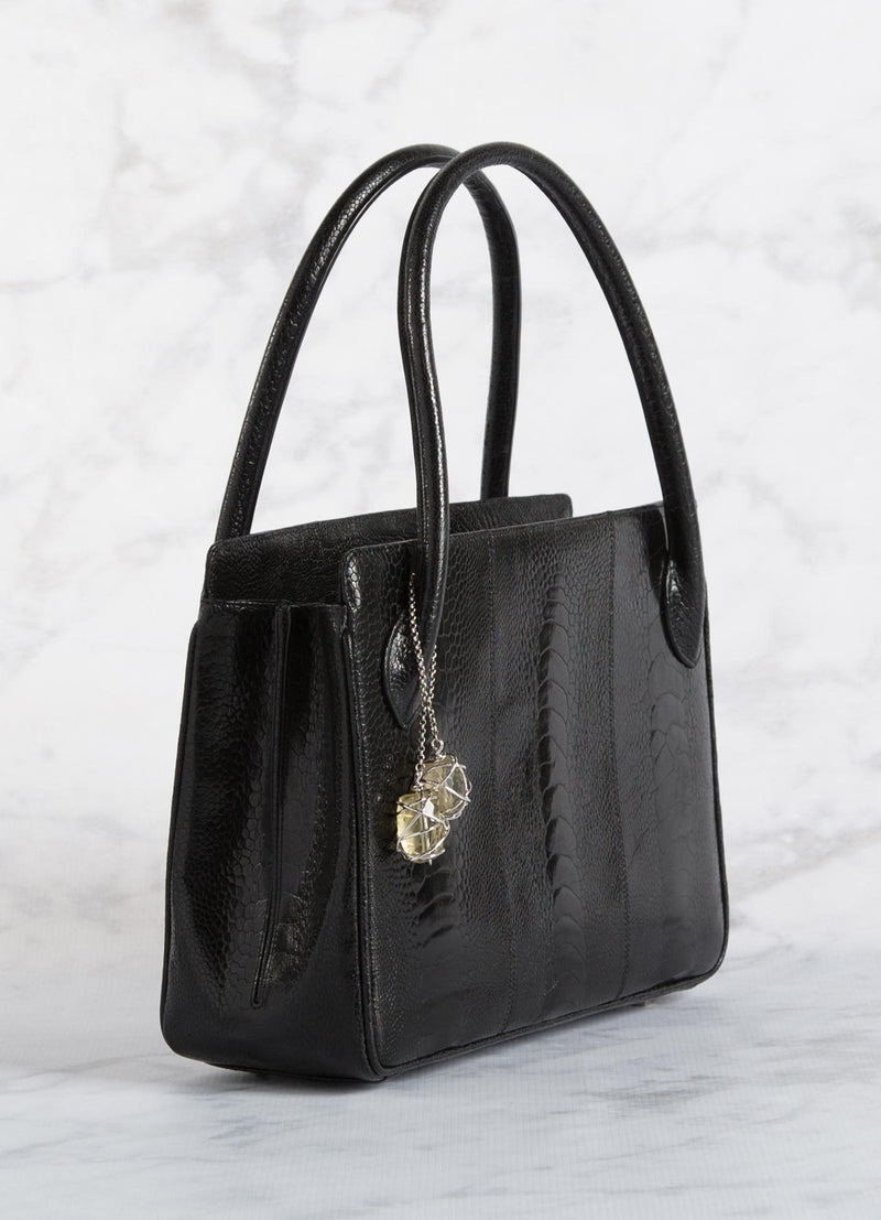 Black Ostrich Leg Blair Open Tote with Silver Accents side view - Darby Scott