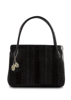 Black Ostrich Leg Blair Open Tote with Silver Accents - Darby Scott