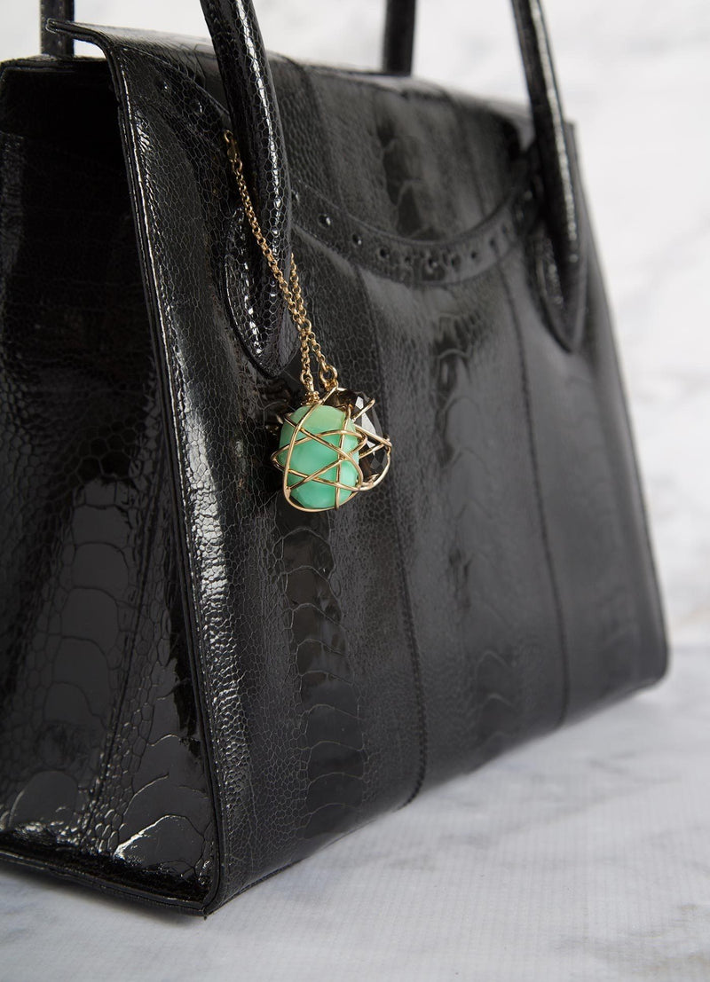 Detail of Chrysoprase & Labradorite Fob on Black Thompson Tote - Darby Scott