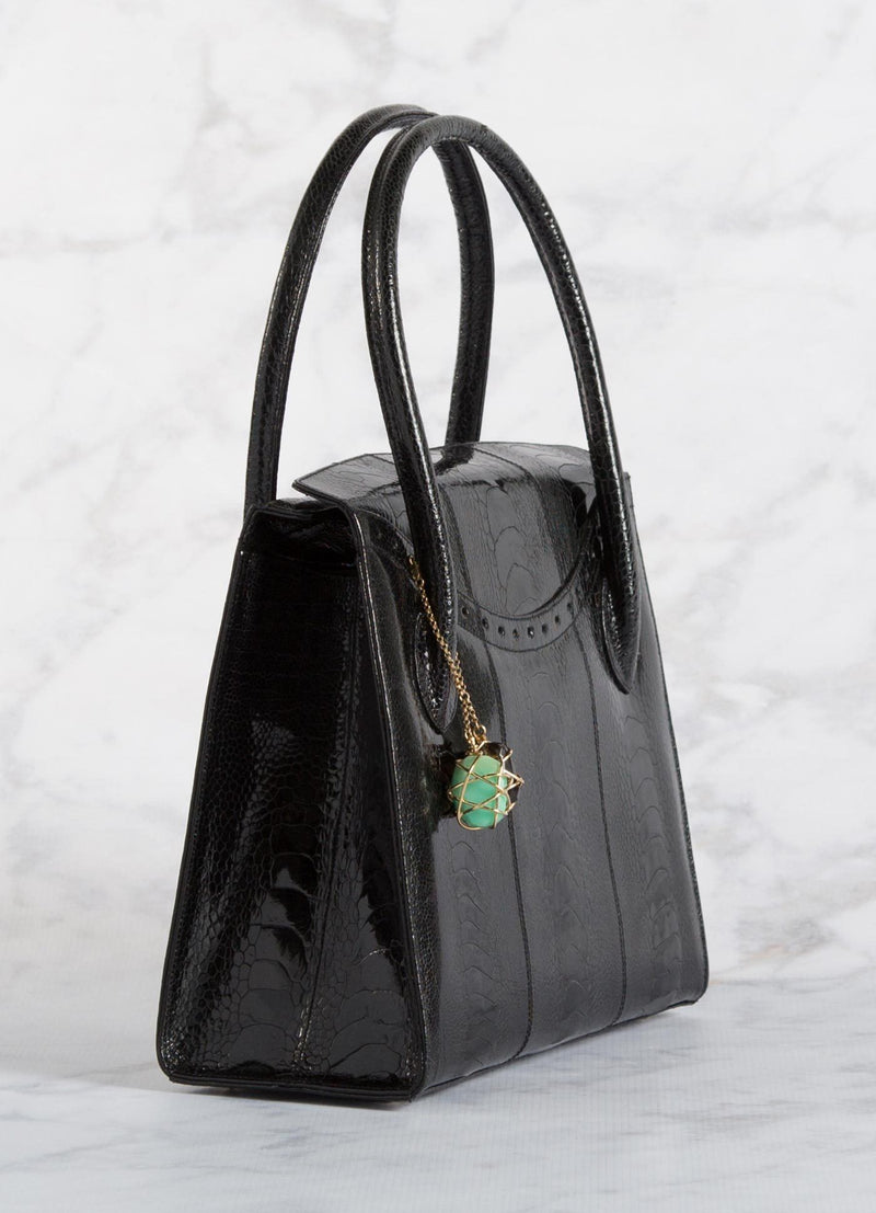 Side of Black Ostrich Leg Thompson Tote with Fob - Darby Scott