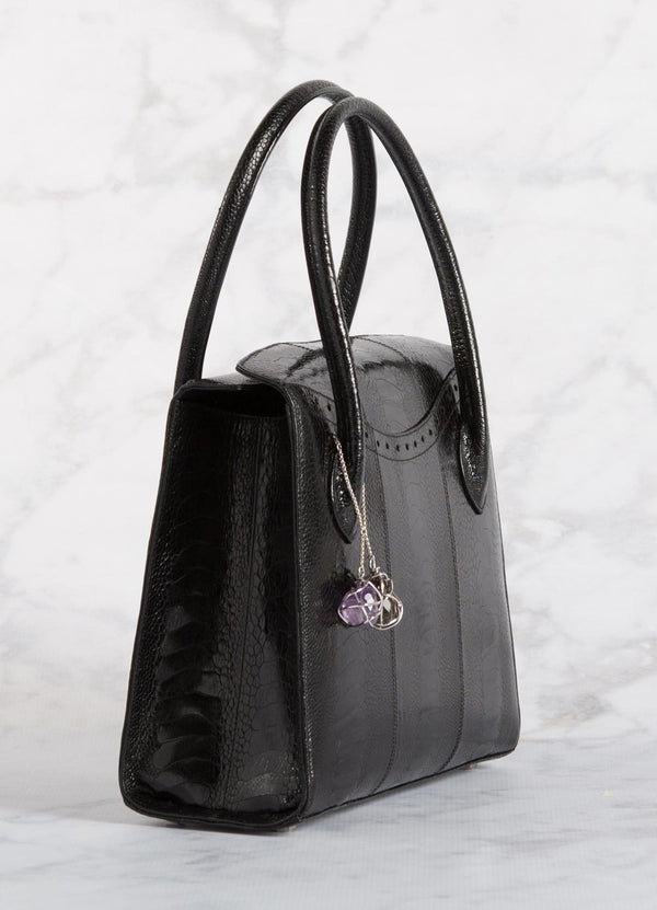 Side of Thompson Tote in Black Ostrich Leg - Darby Scott--alternate