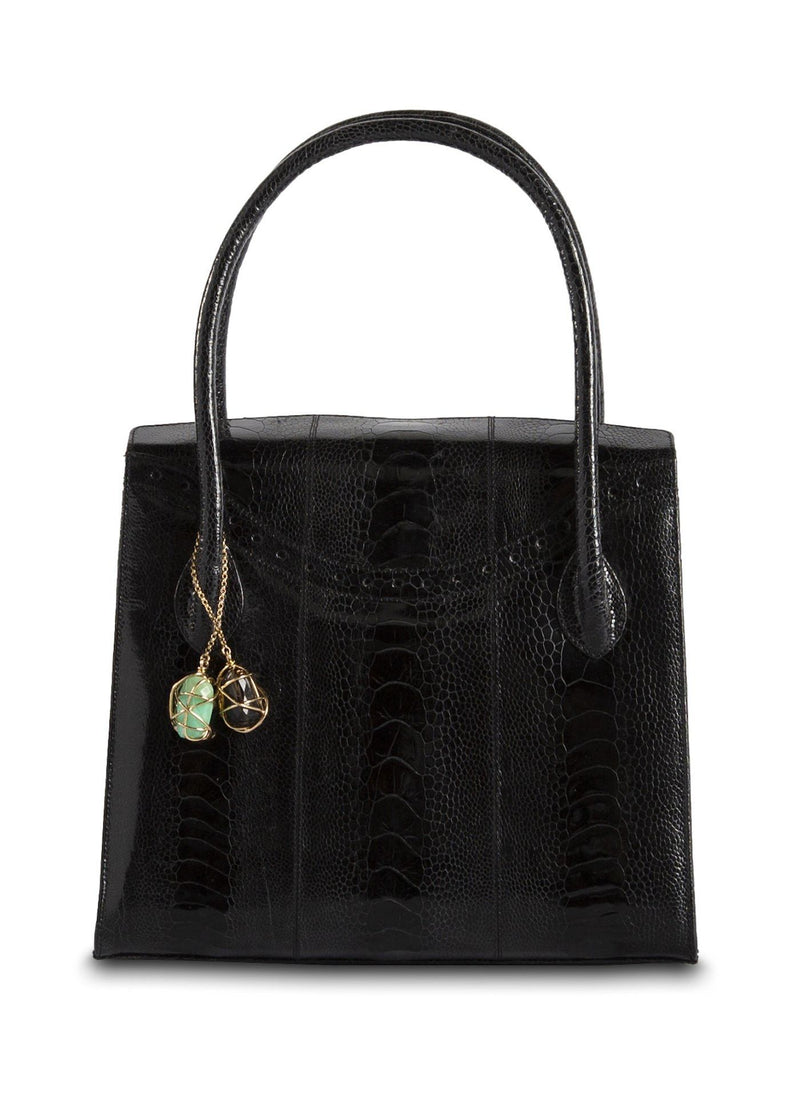 Thompson Tote in Black Ostrich Leg with Fob - Darby Scott