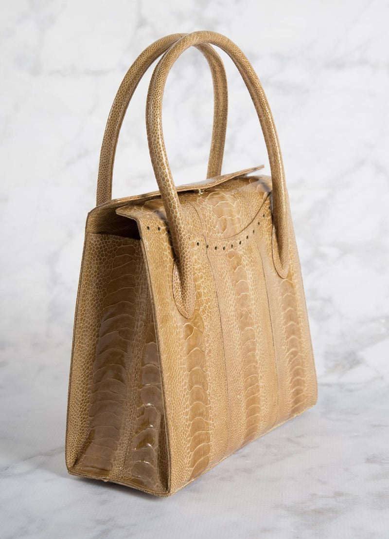 Back of Thompson Tote in Camel Ostrich Leg - Darby Scott