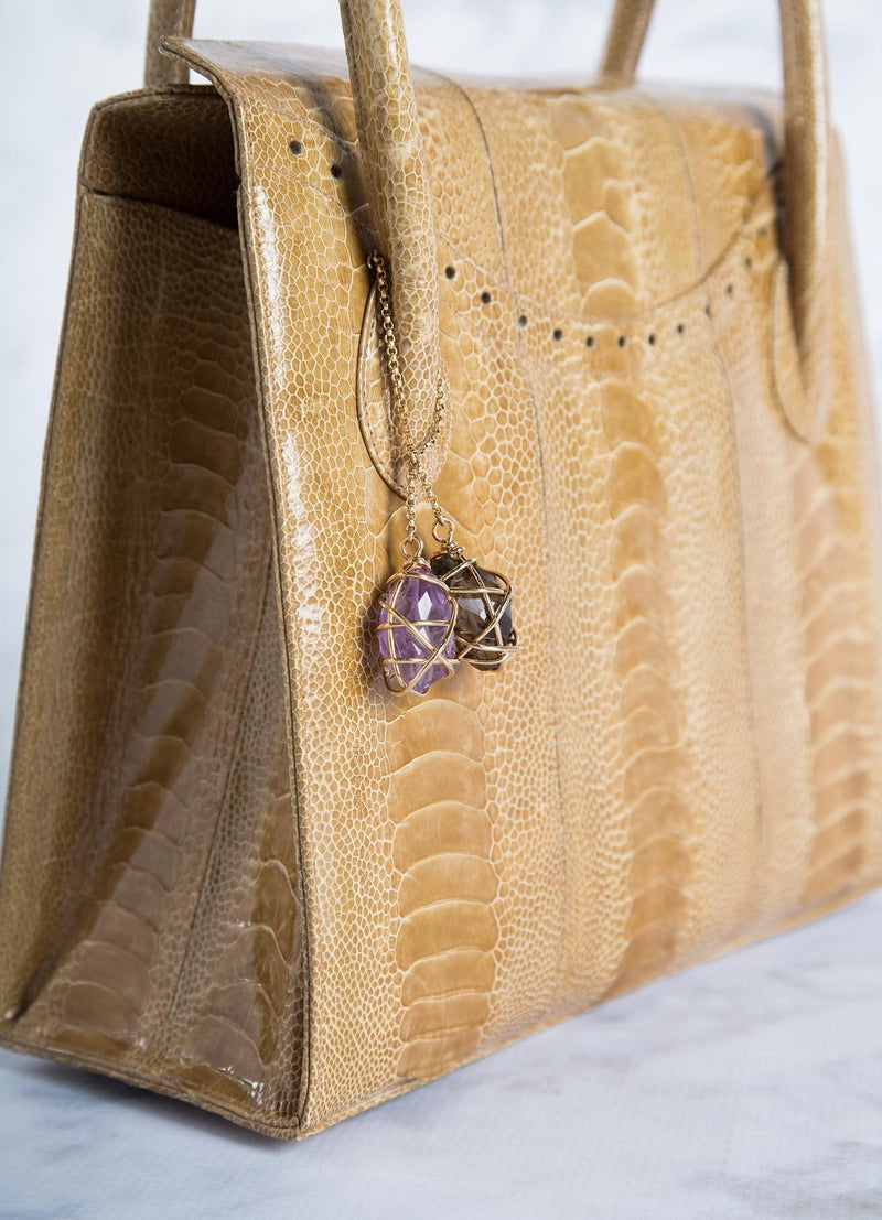 Detail view of Amethyst & Labradorite Fob on Tote - Darby Scott
