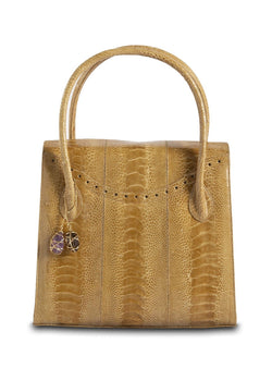 Thompson Tote in Camel Ostrich Leg with Fob - Darby Scott