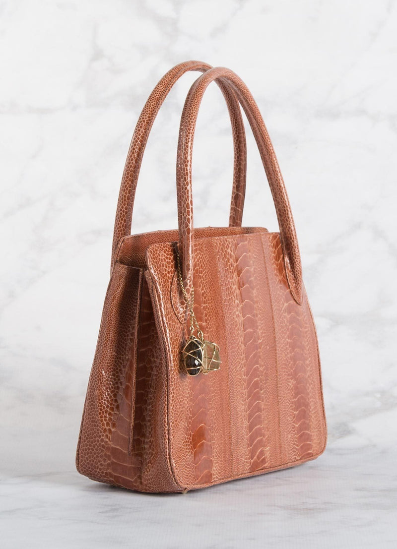 Orange Ostrich Leg Blair Open Tote on Side view - Darby Scott