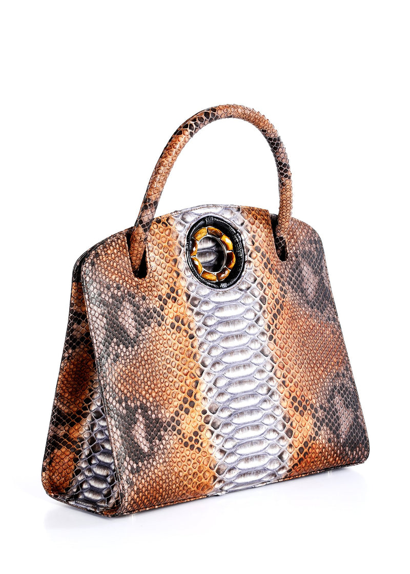Side Gusset on Brown Python Annette Top Handle Tote - Darby Scott