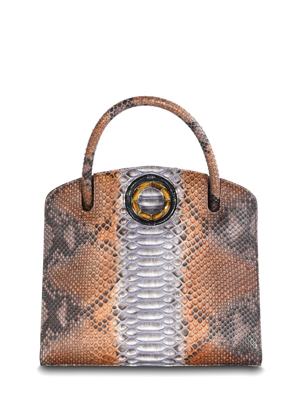 Multi-Brown Python Tote with Tiger Eye Grommet - Darby Scott