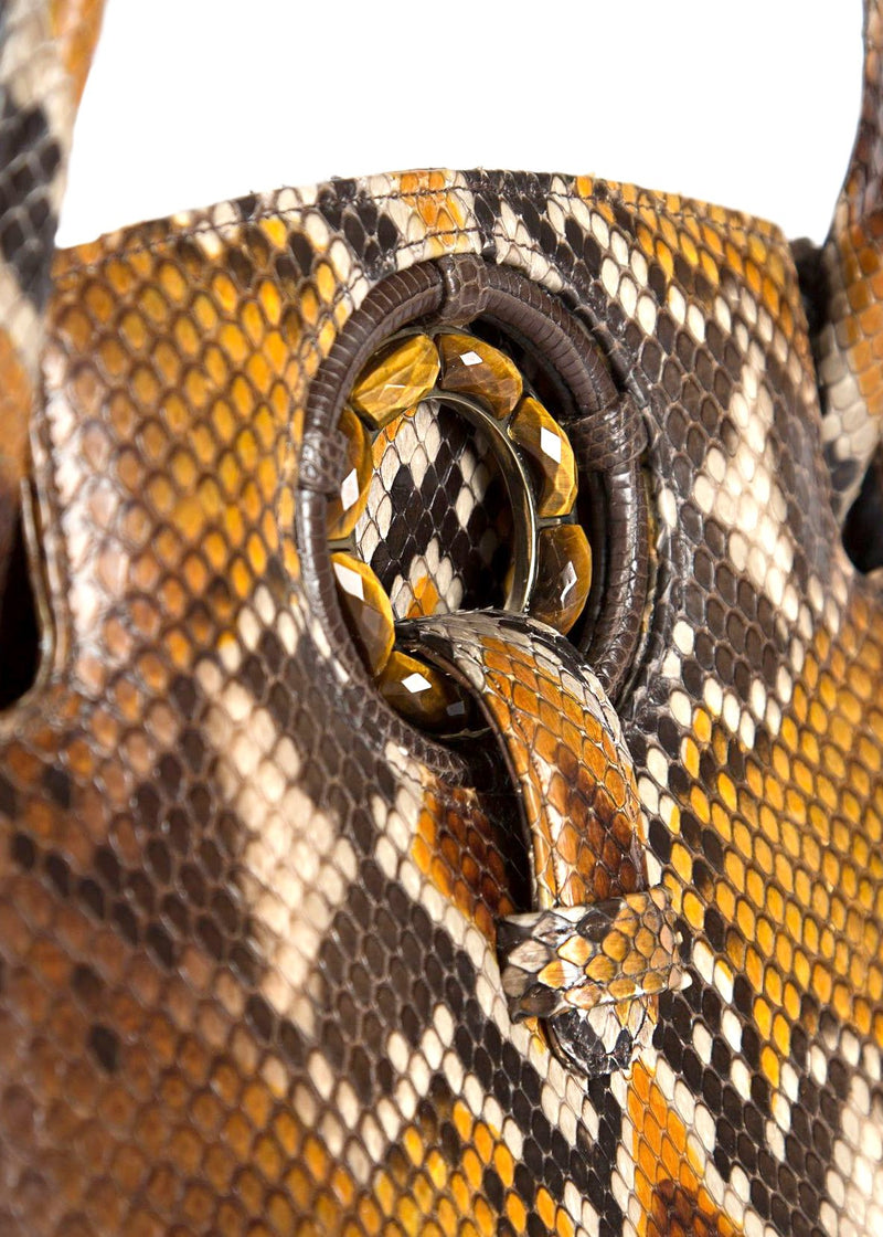 Close Up of Tiger Eye Gemstones on Annette Top Handle Tote - Darby Scott