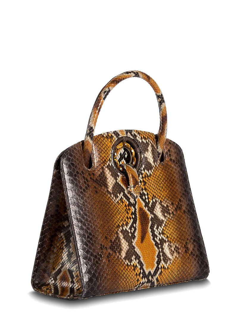 Side View of Cognac Annette Top Handle Tote - Darby Scott