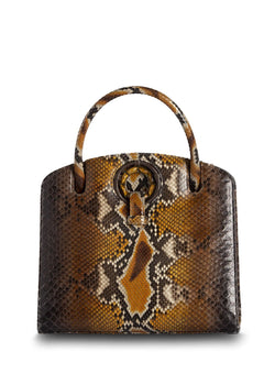 Front View of Cognac Annette Top Handle Tote - Darby Scott