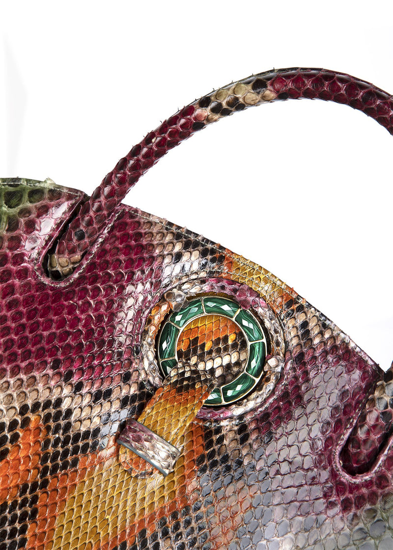 Detail of Malachite  Grommet on Darby Scott Annette Handbag