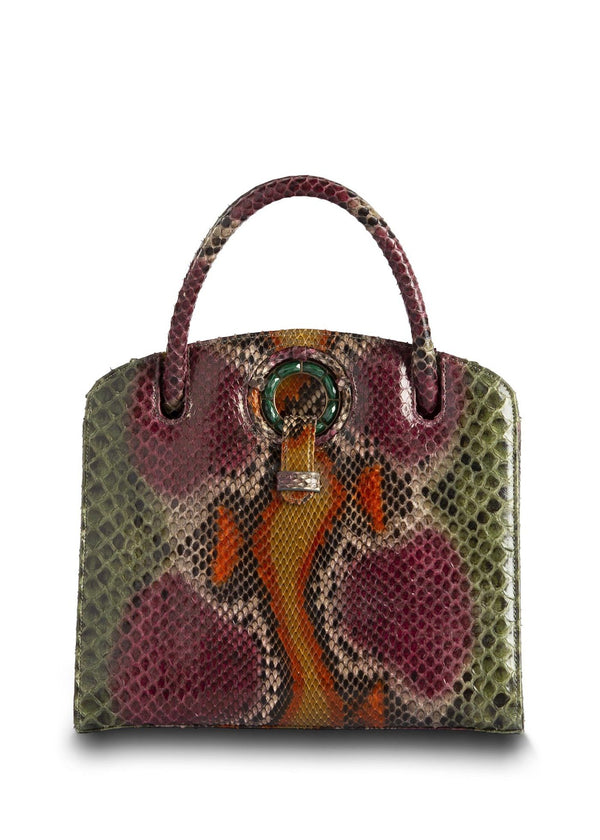 Dark Green & Cranberry Annette Top Handle Tote with Malachite Grommet - Darby Scott