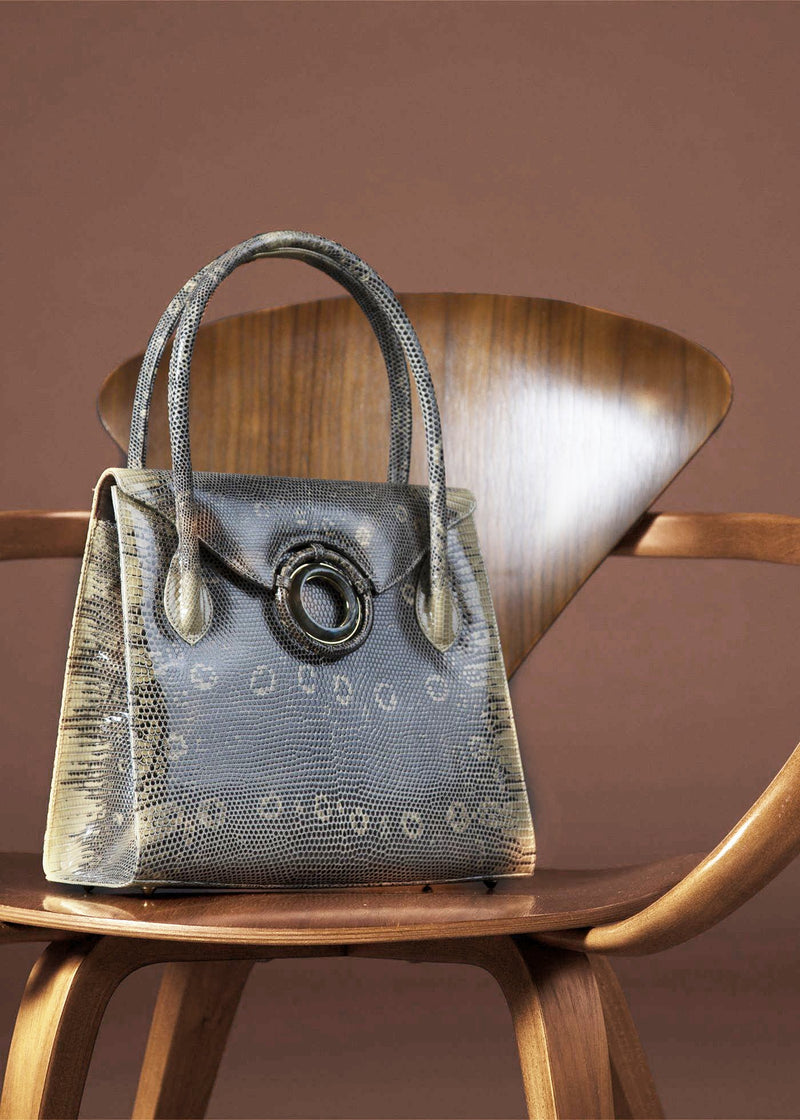 "Thompson ""O"" Tote in Cafe Ring Lizard with Labradorite Grommet  - Darby Scott"