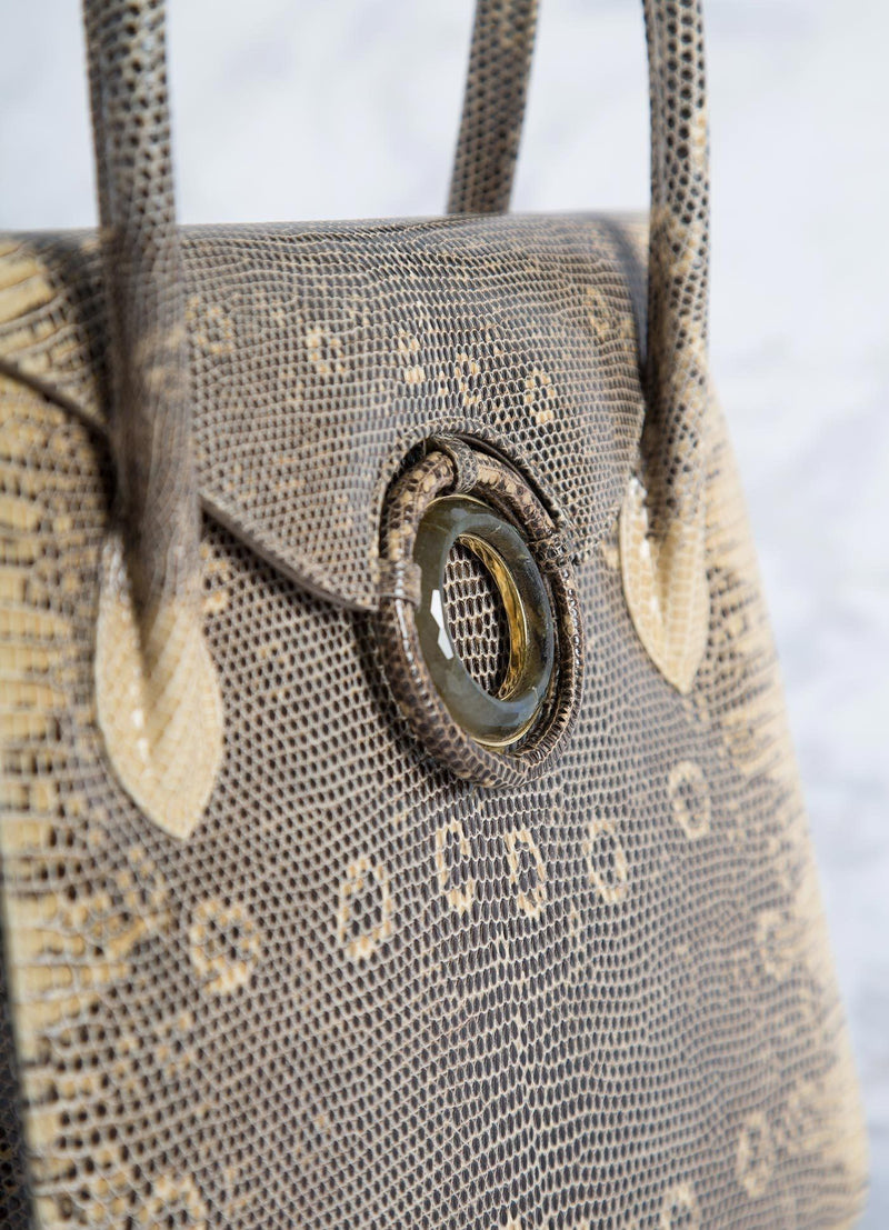 Detail of Labradorite Grommet on Cafe Ring Lizard Tote  - Darby Scott
