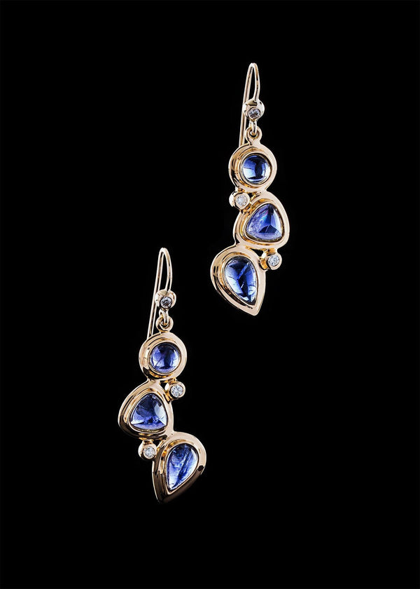 Iolite diamond 18K gold earring mosaic 3 stone - Darby Scott