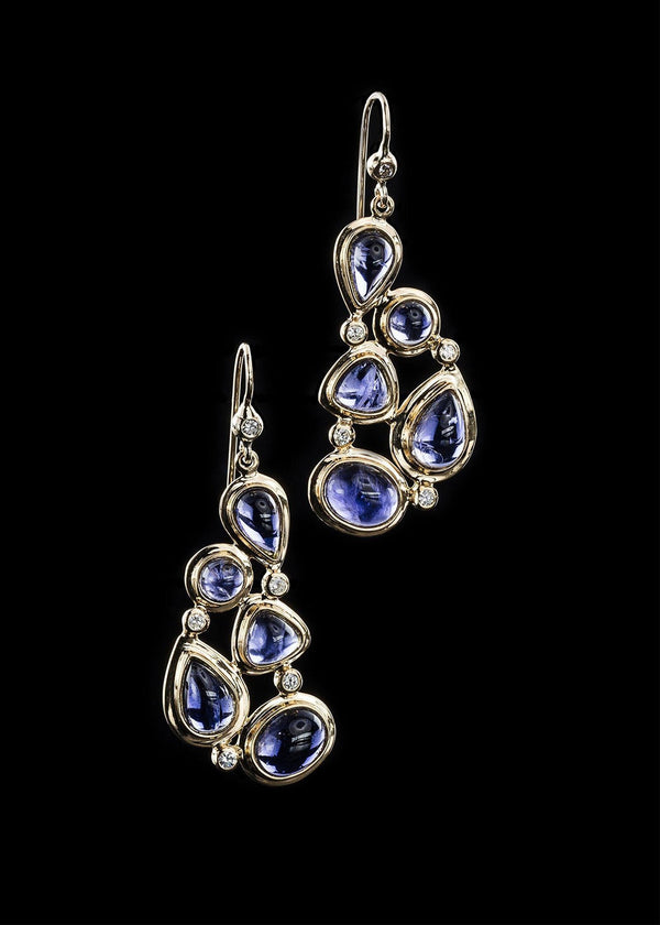 Iolite Diamond 18K Gold Earring Mosaic 5 Stone - Darby Scott