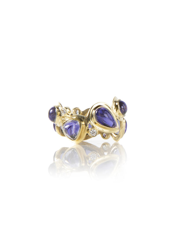 Iolite & Diamond Mosaic 18K Yellow Gold Band - Darby Scott