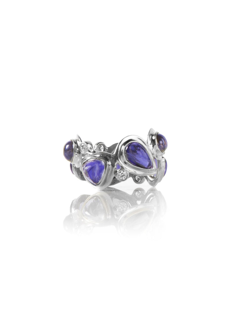 Iolite & Diamond Mosaic Sterling Silver Band - Darby Scott