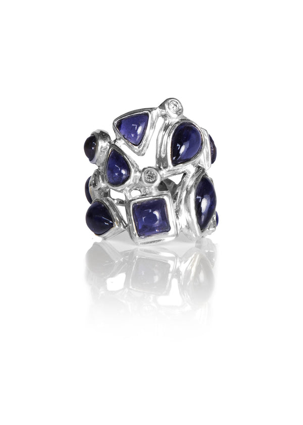 Iolite & Diamond Mosaic Sterling Silver Cocktail Ring - Darby Scott