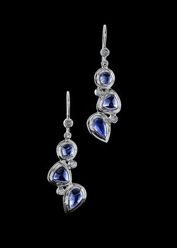 Iolite diamond sterling earring mosaic 3 stone - Darby Scott