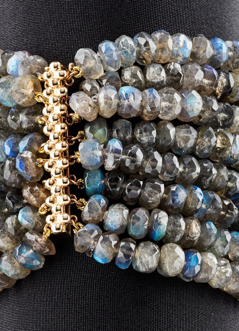 Close up of 14K Gold Bar Clasp on Labradorite Multi Strand Bracelet - Darby Scott