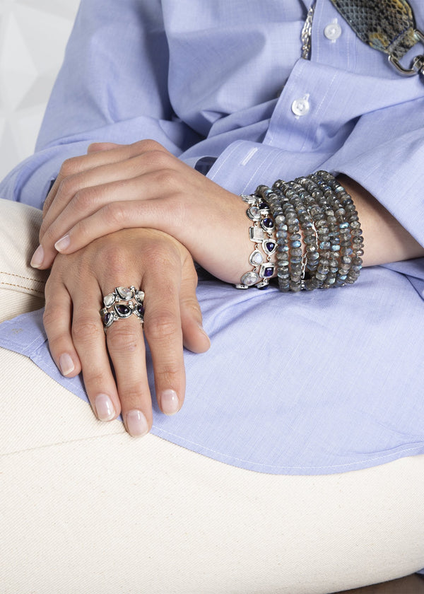 Mosaic Rings and Bracelets in Moonstone & Iolite on a Model - Darby Scott--alternate