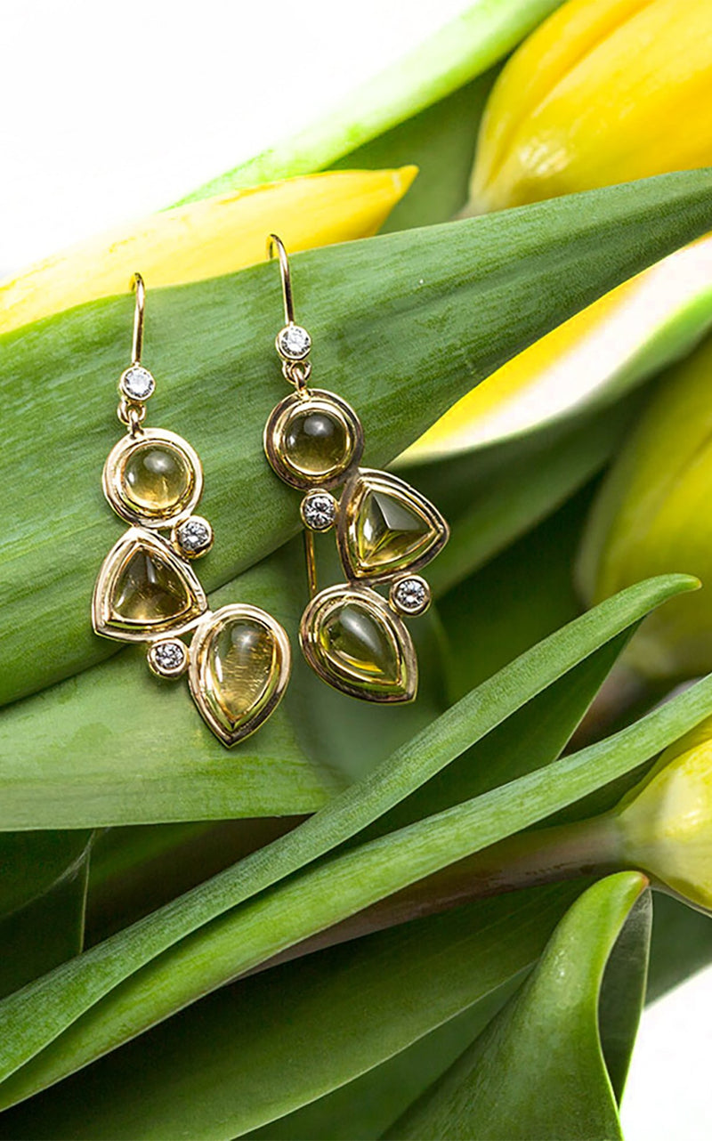 Citrine & Diamond Mosaic Earrings with Tulips - Darby Scott