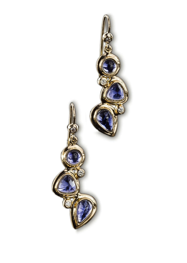 3 stone Mosaic Iolite & Diamond Earrings set in 18K Yellow Gold with french wire backs - Darby Scott--alternate