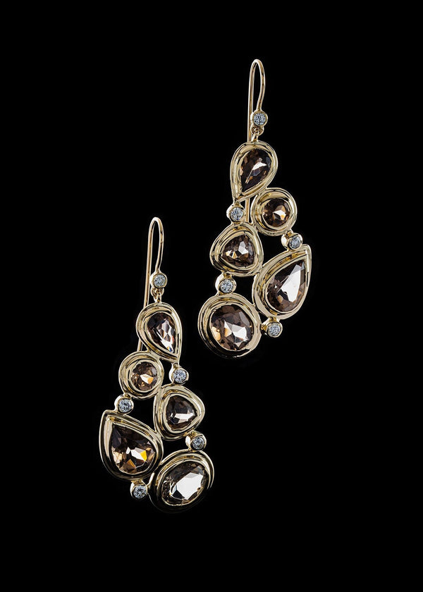 Smokey topaz & Diamond 5 stone mosaic earrings in 18K yellow gold - Darby Scott--alternate
