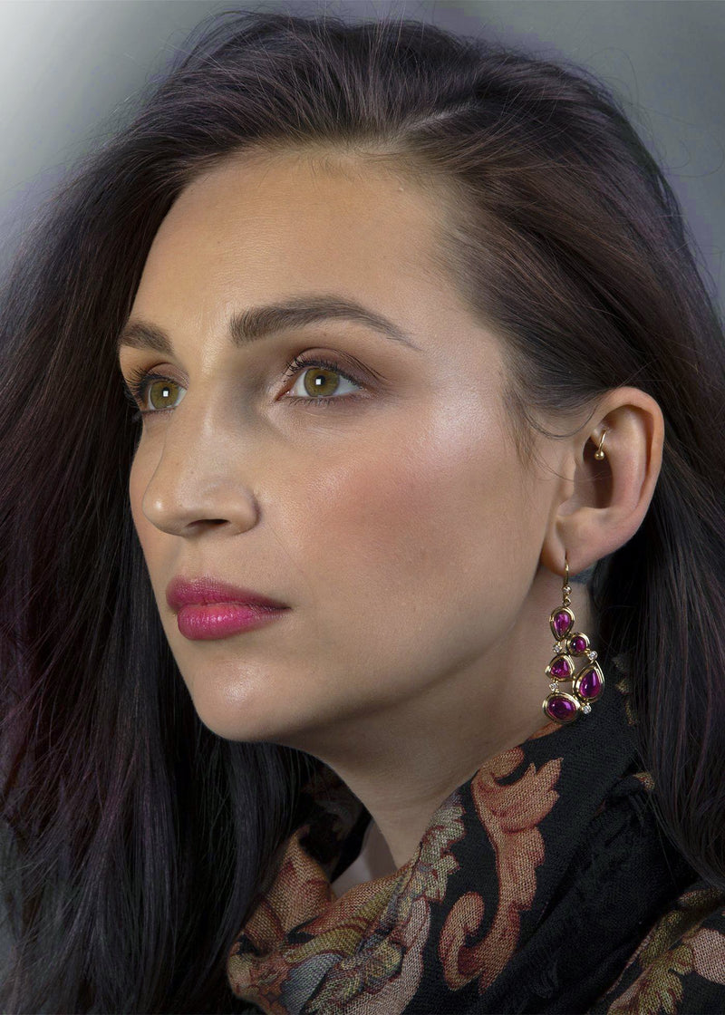 Model in 5 Stone Pink Tourmaline and Diamond Mosaic Earrings - Darby Scott