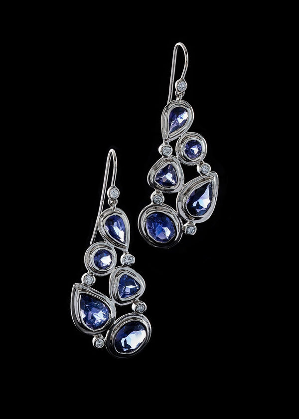 Iolite & Diamond 5 stone Mosaic Sterling Silver Earrings - Darby Scott--alternate