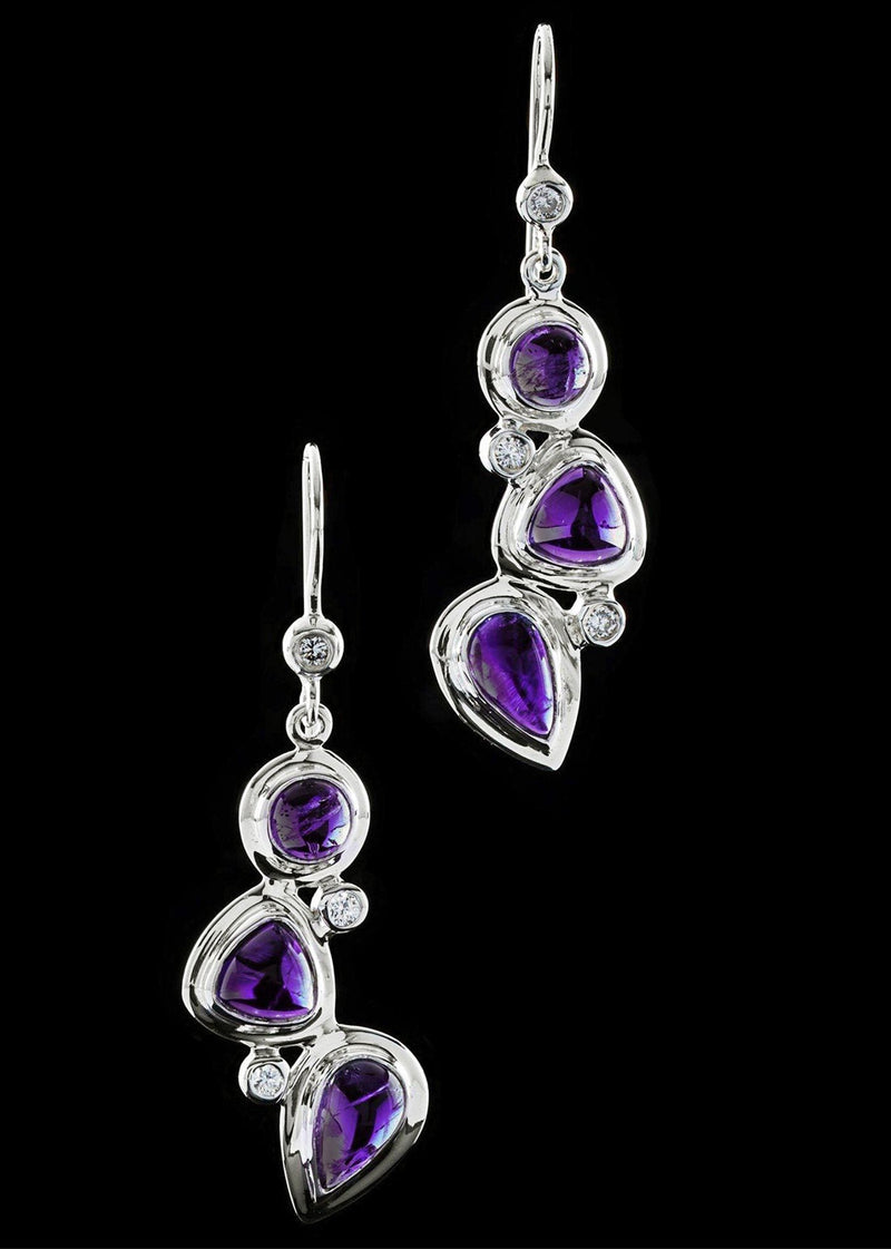 Close up of Mosaic 3 Stone Amethyst & Diamond Earrings- Darby Scott